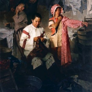 """""""The Calico Dress, Family Laundry, 1906"""" Fine Art Edition on Canvas by Mian Situ"""