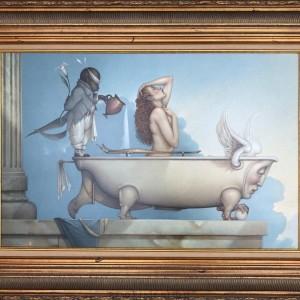 """""""The Bath"""" Original Oil on Canvas by Michael Parkes"""