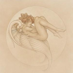 """Angel of August"" Fine Art on Vellum by Michael Parkes"