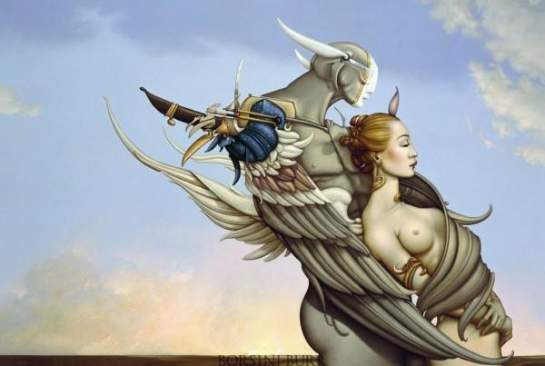 """Diamond Warrior"" Fine Art Edition on Canvas by Michael Parkes"