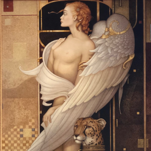 """""""Gold Angel"""" Fine Art Edition on Canvas by Michael Parkes"""