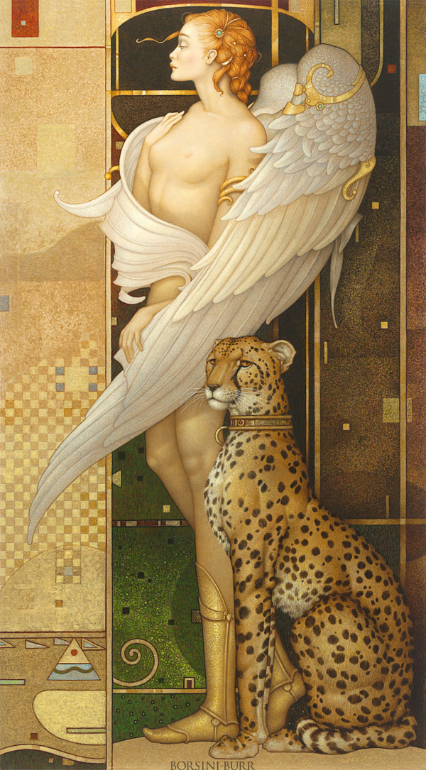"""""""Gold Angel"""" Original Oil on Canvas by Michael Parkes"""