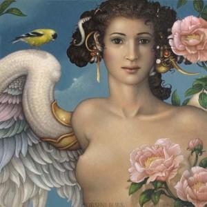 """Golden Finch"" Fine Art Edition on Canvas by Michael Parkes"