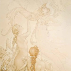 """Golden Lotus"" Fine Art on Vellum by Michael Parkes"