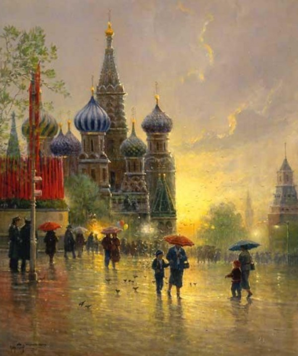 """""""Light Rain on the Red Square"""" Fine Art Edition on Paper by G. Harvey"""