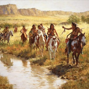 """""""Nez Perce Scouts at Painted Robe Creek"""" Fine Art Edition on Canvas by Howard Terpning"""