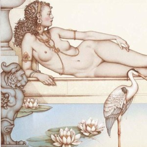 """""""Oasis"""" Stone Lithograph by Michael Parkes"""