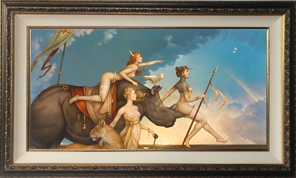 """""""Pageant of the Black Rhinoceros"""" Fine Art Edition on Canvas by Michael Parkes"""
