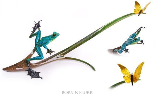 """""""Papillon"""" Bronze Sculpture by Tim Cotterill """"Frogman"""""""