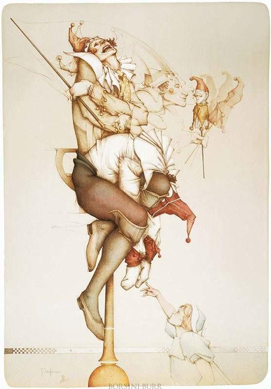 """Petrouchka"" Stone Lithograph by Michael Parkes"