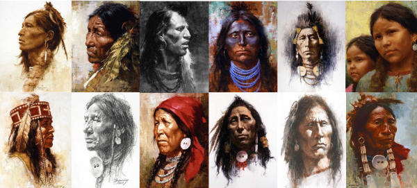 """""""The Portrait Series - The Complete Set"""" Fine Art on Canvas by Howard Terpning"""