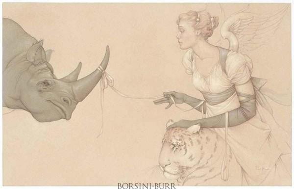 """Reassurance"" Original Drawing by Michael Parkes"