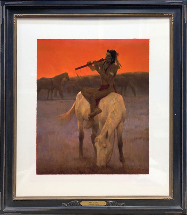"""""""The Red Flute"""" Hand Pulled Serigraph by Kenneth Riley"""