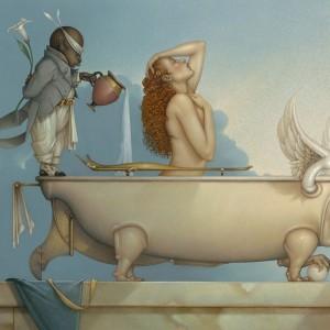 """The Bath"" Fine Art Edition on Canvas by Michael Parkes"
