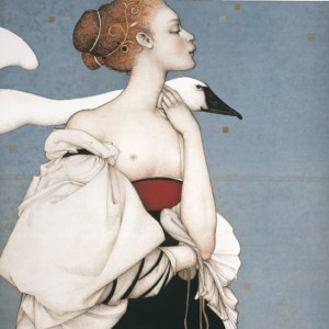 """Pale Swan"" Stone Lithograph by Michael Parkes"