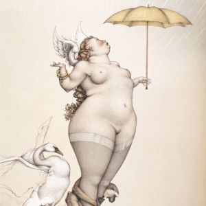 """Rain"" Stone Lithograph by Michael Parkes"