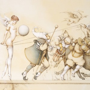 """""""Returning the Sphere"""" Stone Lithograph by Michael Parkes"""