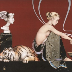 """""""Sacred Fire I and II"""" Stone Lithograph by Michael Parkes"""