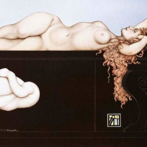 """""""Sleeping Swan"""" Stone Lithograph by Michael Parkes"""