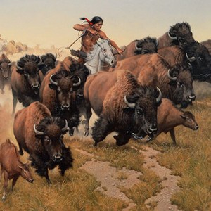 """""""Amidst the Thundering Herd"""" Fine Art on Canvas by Howard Terpning"""