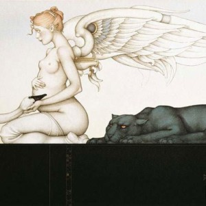 """""""Waiting"""" Stone Lithograph by Michael Parkes"""