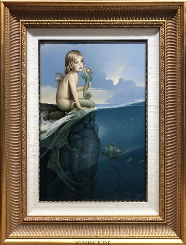 """""Baby Mermaid"" Original Oil on Canvas by Michael Parkes"