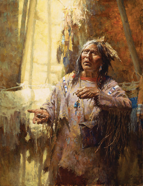 """""""Calling the Buffalo"""" Fine Art Edition on Canvas by Howard Terpning."""