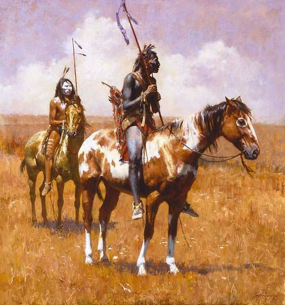 """""""Coup Sticks & War Paint–2009"""" Fine Art Edition on Canvas by Howard Terpning"""