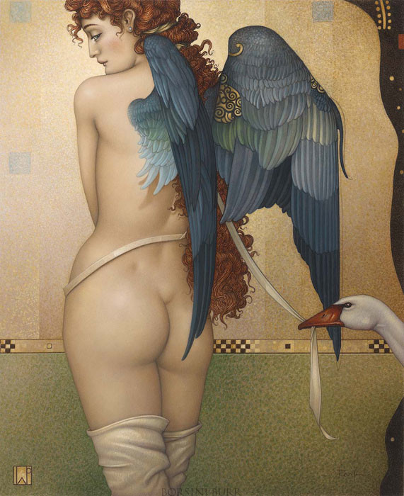 """""""Angel Interrupted"""" Original Oil on Canvas by Michael Parkes"""