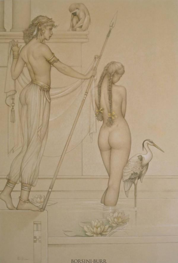 """The Bath"" Original Drawing by Michael Parkes"