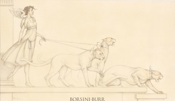 """""""Angel with Three Cats"""" Original Drawing by Michael Parkes"""