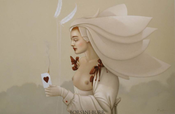 """""""Queen of Hearts"""" Original Oil on Canvas by Michael Parkes"""