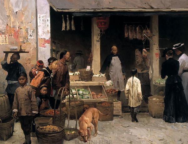 """Chinatown Market, San Francisco, 1878"" Fine Art Edition on Canvas by Mian Situ"