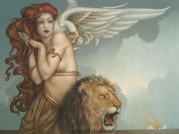 """""""Lion's Return"""" Original Oil on Canvas by Michael Parkes"""