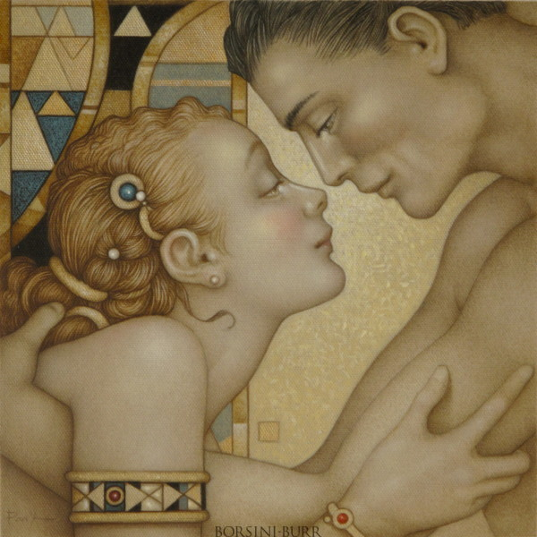 """""""First Embrace"""" Original Oil on Canvas by Michael Parkes"""
