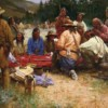 """""""Friendly Game at Rendezvous - 1832"""" Fine Art Edition on Canvas by Howard Terpning."""