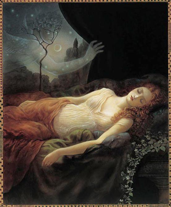 """Psyche Sleeping"" Original Oil on Board by Kinuko Y. Craft"