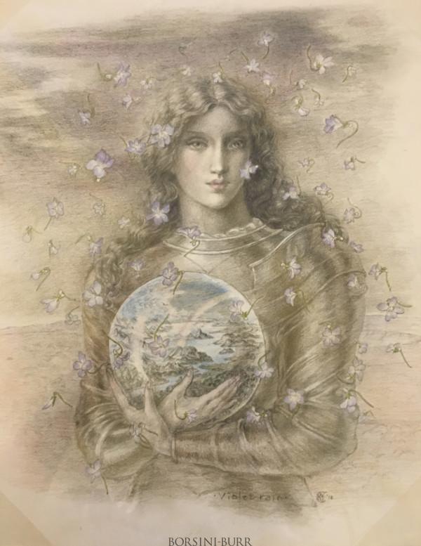 """""""Violet Rain"""" Original Drawing by Kinuko Y. Craft"""