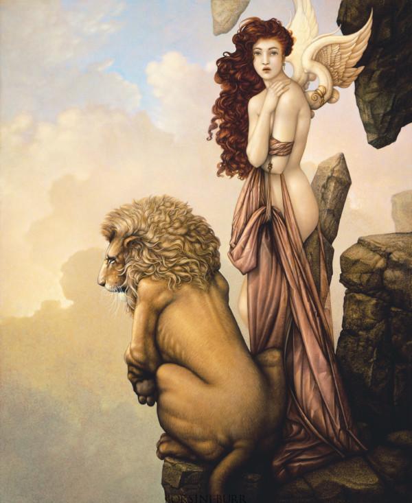 """""""The Last Lion"""" Fine Art Edition on Canvas by Michael Parkes"""