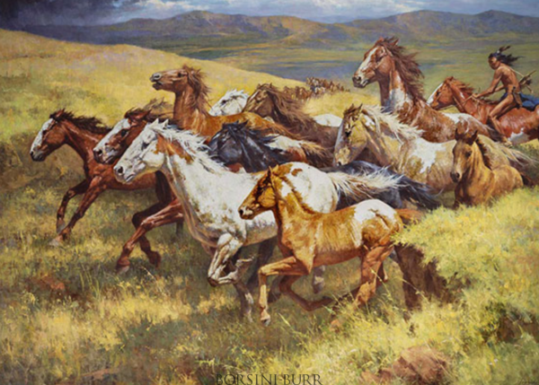 """""""Thunder of the Wild Mustangs"""" Fine Art on Canvas by Howard Terpning"""