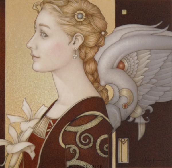 """ Rennaissance Angel"" Original Oil on Canvas by Michael Parkes"