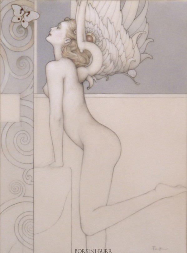 """""""Silver Butterly"""" Original Drawing by Michael Parkes"""