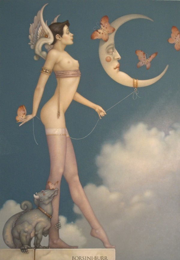 """""""Butterfly Moon"""" Original Oil on Canvas by Michael Parkes"""